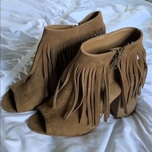 Suede Fringe Open Toe Booties